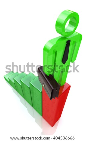 3d man standing on top of growth business red bar graph, business concept.3D Illustration