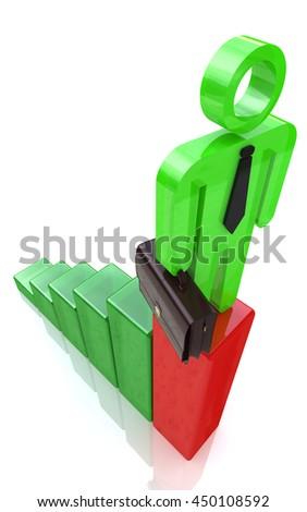 3d man standing on top of growth business red bar graph, business concept in the design of information related to business and economy. 3d illustration - stock photo