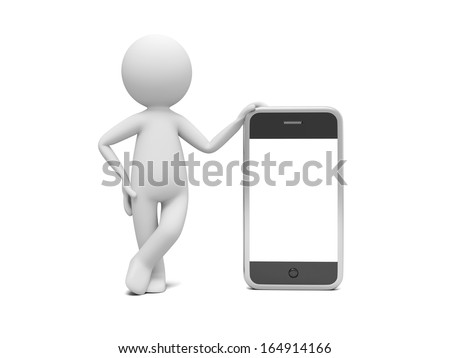 3d man standing with smart phone, blank screen for copy place - stock photo