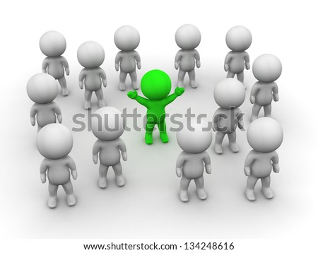 3D Man Stands Out from the crowd
