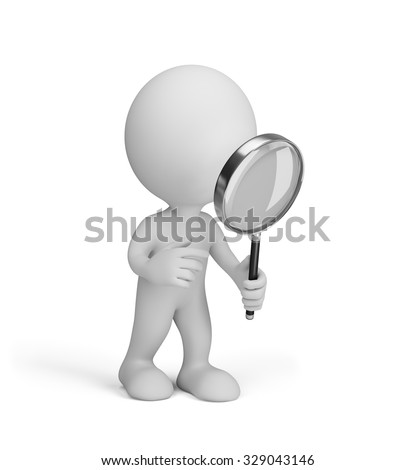 3d man stares through a magnifying glass. 3d image. White background.