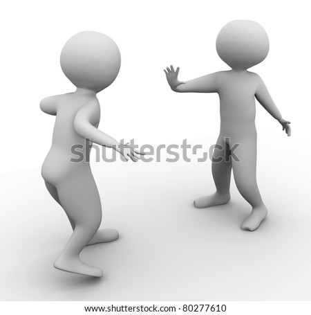 3d man stoping other man - stock photo