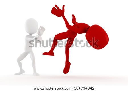 3d man super hero fighter - stock photo