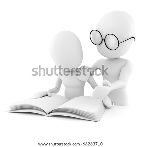 3d man teacher and student, studying, isolated on white - stock photo