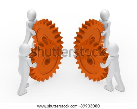 3d man teamwork circle with orange gear - stock photo