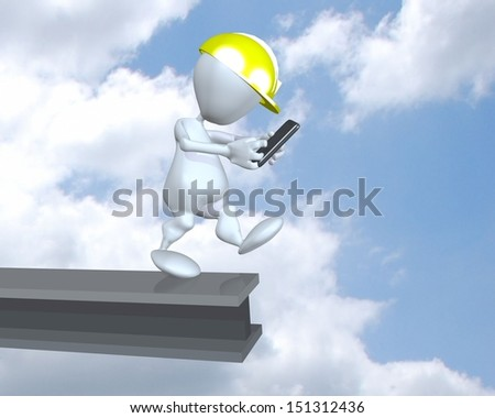 3d man texting unsafely at a construction site - stock photo