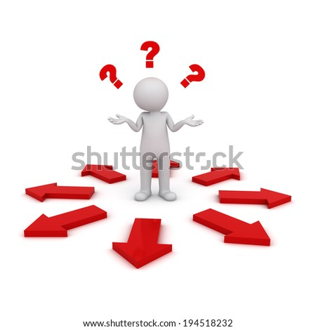 3d man thinking and confusing with many red arrows showing different directions wondering which way to go isolated over white background - stock photo
