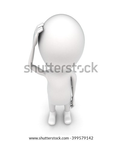 3d man  thinking concept on white background - 3d rendering , top angle view - stock photo