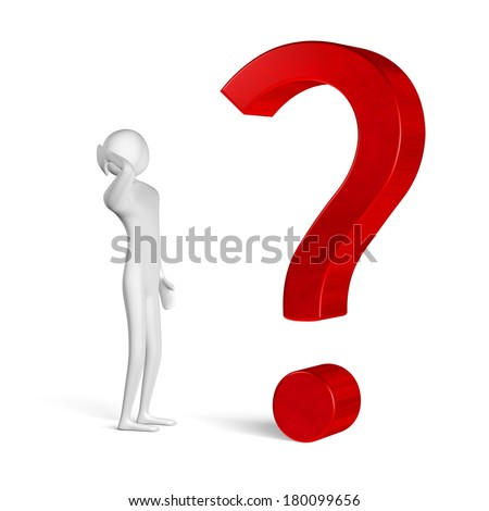 3d man thinking, scratching his head, in front of question mark isolated on white - stock photo