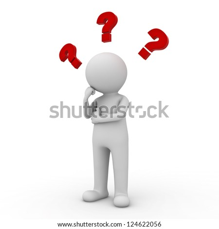3d man thinking with red question marks above his head over white background - stock photo