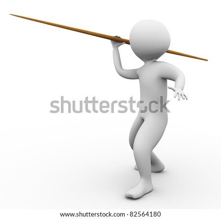 3d man throwing javelin on the white background - stock photo
