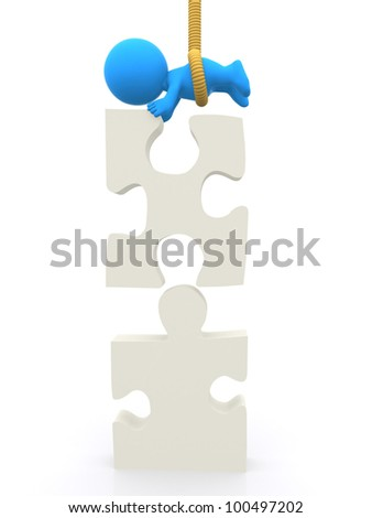 3D man tied with a rope assembling a puzzle - isolated over white