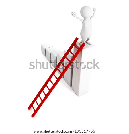 3d man top of bar chart graph with ladder. business success 3d render illustration - stock photo