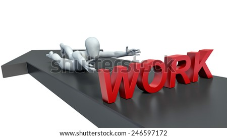 3d man trying to grab the job - stock photo