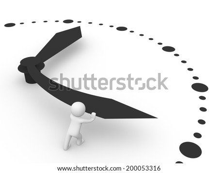 3d man trying to stop the clock - stock photo