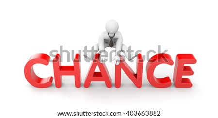 3d man uses his chance. 3d illustration - stock photo