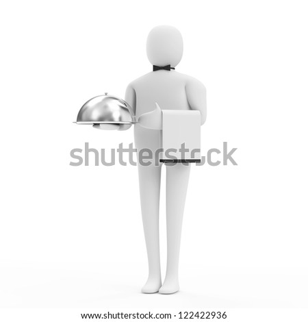 3d Man Waiter with Silver Tray isolated on white background - stock photo