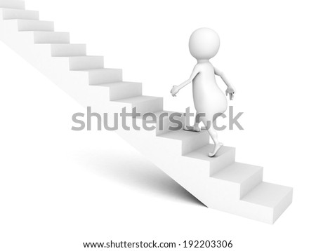 3d man walks upstairs on ladder. success concept 3d render illustration - stock photo