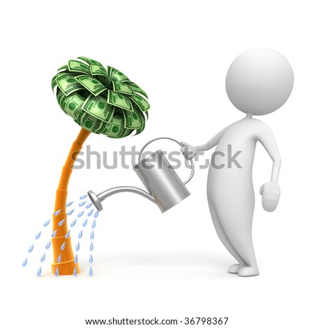 3d man water the concept of dollar - stock photo