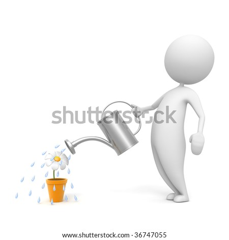3d man water the flower - stock photo