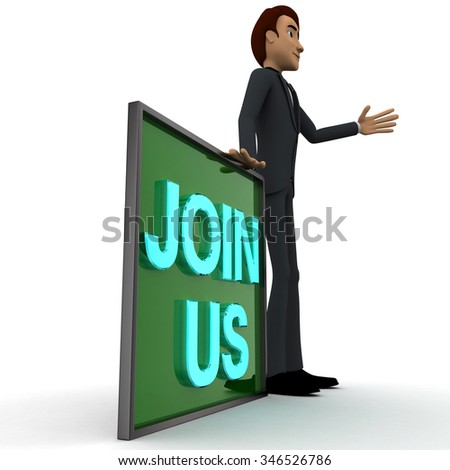 3d man wave one hand and with blue JOIN US text on board concept on white  side angle view - stock photo