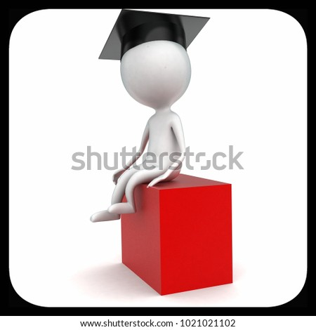 3d man wearing graduate cap sitting over box concept in white isolated background - 3d rendering ,  side angle view