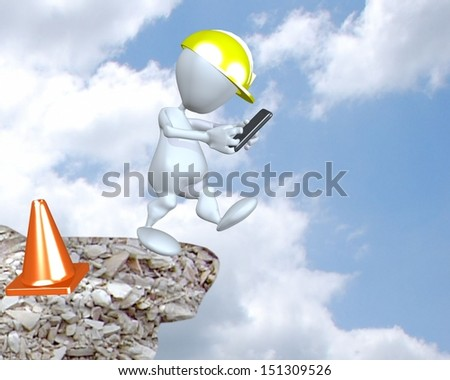 3d man wearing hardhat texting while walking off cliff - stock photo