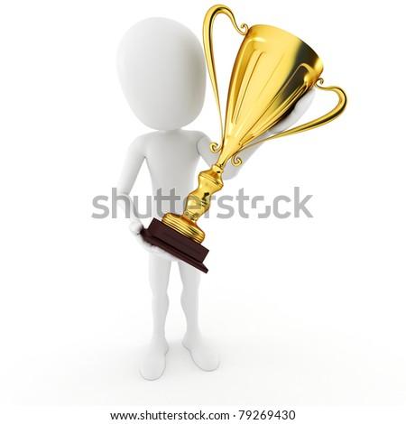 3d man winner holding a big shiny trophy - stock photo