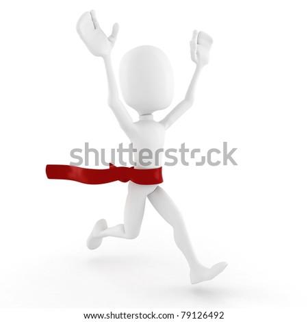 3d man winnes, on white background - stock photo