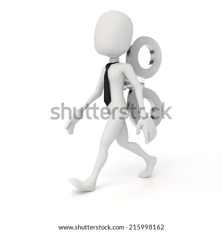 3d man with a big key on the back, efficiency in business concept