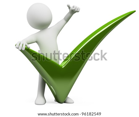 3D man with a huge tick and thumb up. Rendered at high resolution on a white background with diffuse shadows. - stock photo
