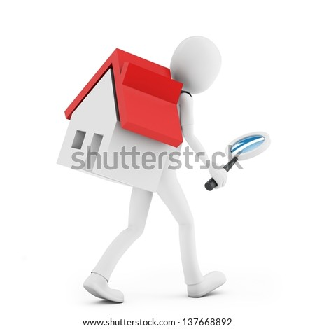 3d man with a magnifying glass and a house searching on white background - stock photo