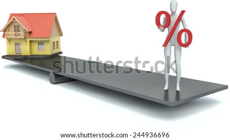 3d man with a percent sign and the house - stock photo