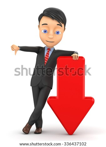 3d man with arrow down - stock photo