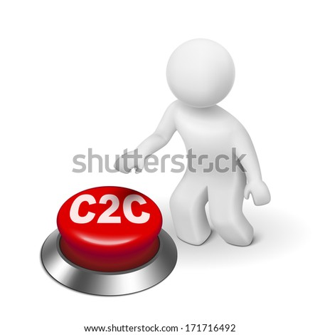 3d man with c2c client to client button isolated white background  - stock photo