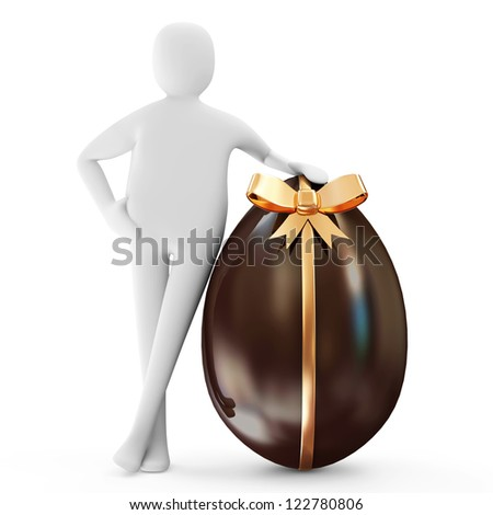 3d Man with Chocolate Easter Egg with Golden Bow