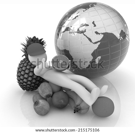3d man with citrus and earth on a white background