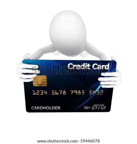 3d man with credit card blue - stock photo