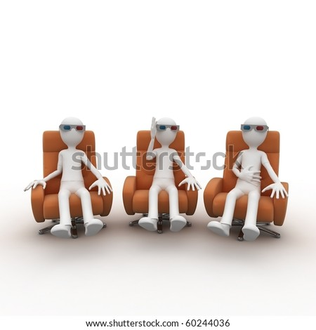 3d man with 3d glasses watching 3d cinema - stock photo