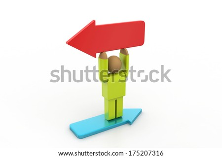 3d man with different direction arrows - stock photo