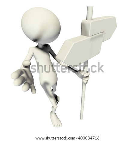 3D MAN WITH DIRECTIONAL SIGN