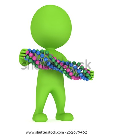 3D man with DNA chain on white. 3D render. Medicine, healthcare, genome concept - stock photo