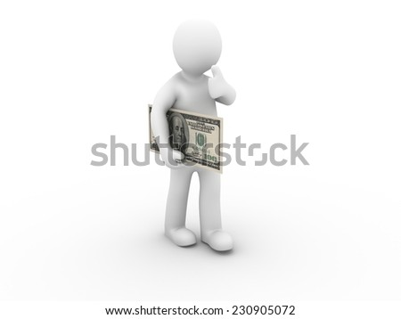 3d man with dollar showing thumbs up on white background. 3d render