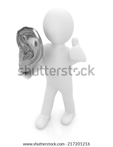 3d man with ear gold 3d render isolated on white background  - stock photo