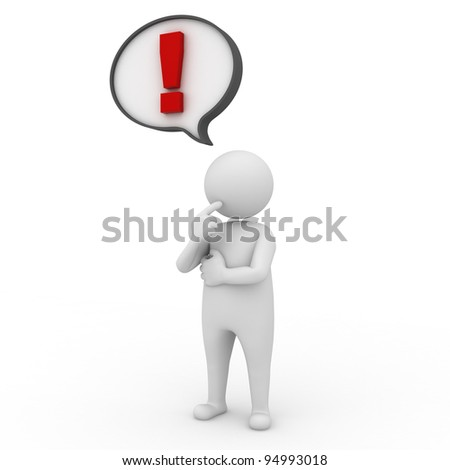 3d man with exclamation mark in speech bubble on white background