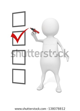 3d man with felt-tip pen make choice of checklist - stock photo