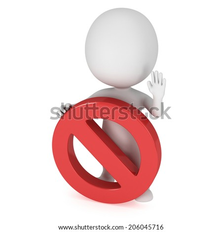 3D man with forbidden sign. No symbol. Prohibition. 3D render isolated on white - stock photo