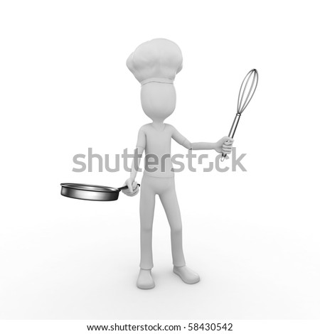 3d man with frying pan and whisk - stock photo