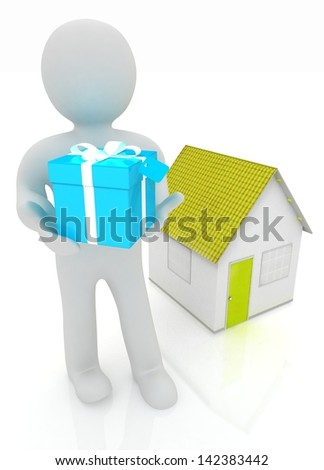 3d man with gift and house - stock photo