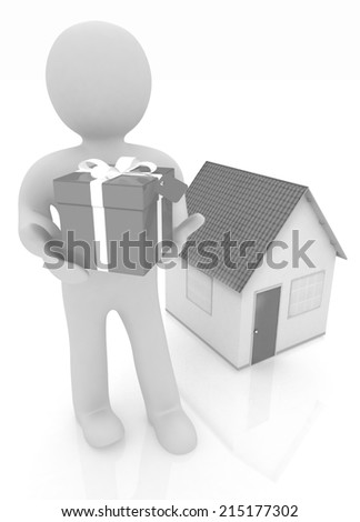 3d man with gift and house on a white background - stock photo